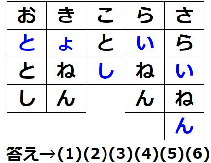 文字謎解きの解答画像